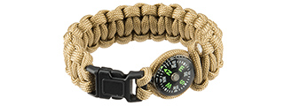 "CA-5041 9"" PARACORD BRACELET, SMALL BUCKLE W/ COMPASS (CB)"