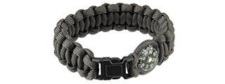 "CA-5043 9"" PARACORD BRACELET, SMALL BUCKLE W/ COMPASS (GRAY)"