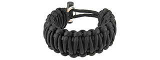 CA-5044 9-INCH PARACORD BRACELET W/FLINT AND STEEL BUCKLE (BLACK)