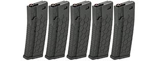 D-HM1VB HEXMAG LICENSED AIRSOFT MAG 120RDS (BK), 5 PCS PACK