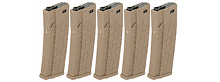 DYTAC HEXMAG AIRSOFT 120RDS MAGAZINES FOR M4 AEGS 5 PACK - TAN