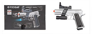 G153SAF UKARMS M1911 SPRING PISTOL (SILVER) w/ FLASHLIGHT, SIGHT, LASER