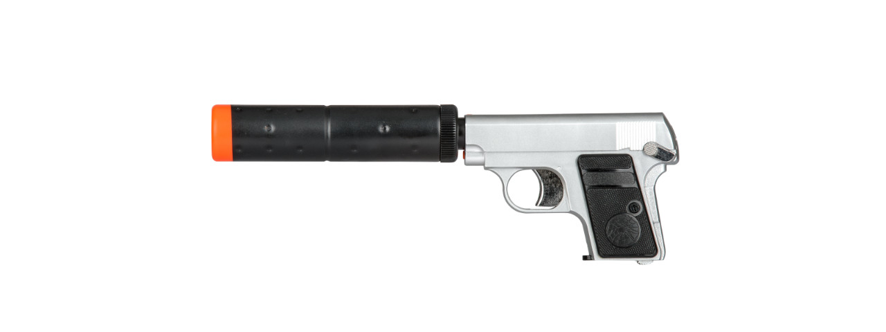 HG-107S HFC COMPACT GAS POWERED PISTOL W/ MOCK SUPPRESSOR(SILVER)