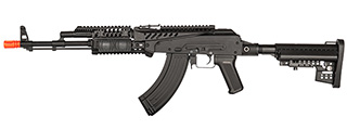 JG1019A METAL AKM ASSAULT RIFLE WITH X47 RAIL & M4 STOCK (BK)