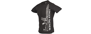 LTSHIRT1-L MEN'S M4 RIFLE SHORT SLEEVE T-SHIRT - BLACK/SILVER, LRG