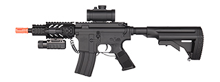 DE M4 CQC FULLY AUTOMATIC ELECTRIC AEG RIFLE W/ FLASHLIGHT AND SCOPE