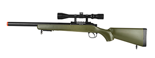 WELL BOLT ACTION VSR CQB AIRSOFT SNIPER RIFLE W/ SCOPE (OD GREEN)