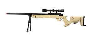 WELL SR22 AIRSOFT SNIPER RIFLE W/ SCOPE AND BIPOD (TAN)