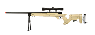 WELL SR22 BOLT ACTION TYPE 22 SNIPER RIFLE W/ SCOPE & BIPOD (TAN)