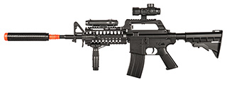 WELL M4 AIRSOFT SPRING RIFLE W/ SCOPE, GRIP, LASER, EXTENSION - BLACK