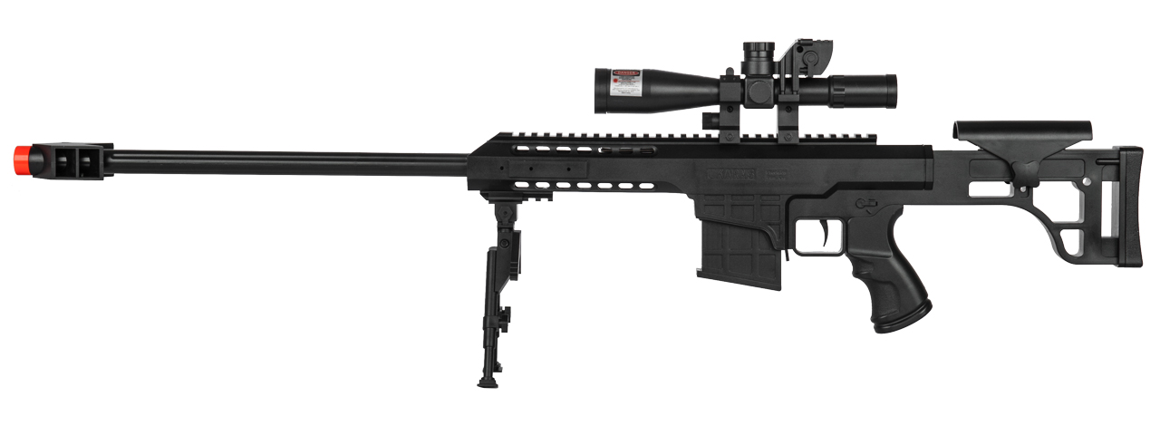 M82 SPRING RIFLE W/BIPOD, DUMMY SCOPE, RED LASER (BLACK)