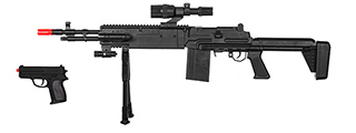 UKARMS P1114 SPRING RIFLE W/ SCOPE, BIPOD, LASER, & FLASHLIGHT AND BONUS P618 SPRING PISTOL IN COMBO BOX