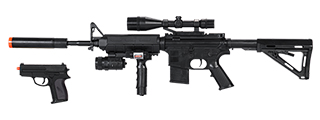 P1158D M4 SPRING AEG WITH VERTICAL GRIP, LASER, ADJUSTABLE STOCK + PISTOL