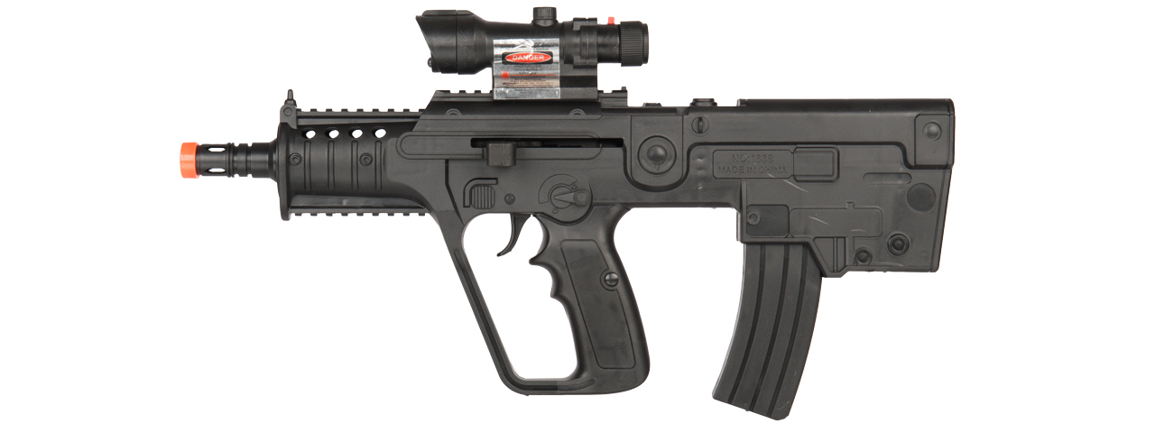 P2163 SPRING POWERED RIFLE W/ LASER & BLUE LIGHT (BLACK)