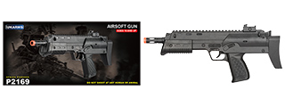 UK ARMS SPRING POWERED AIRSOFT UZI W/ SIGHT & LASER - BLACK