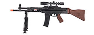 P2303 SPRING RIFLE w/ BIPOD, SCOPE, LASER (BLACK/WOOD)