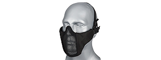 AC-642B WOSPORT STEEL MESH NYLON LOWER FACE MASK (BLACK)