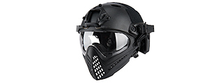 AC-689B WOSPORT TACTICAL PILOTEER BUMP HELMET MASK W/ ADAPTER (BLACK)