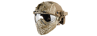 AC-689DD WOSPORT TACTICAL PILOTEER BUMP HELMET MASK W/ ADAPTER (DESERT DIGITAL)