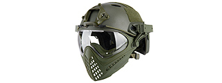 AC-689G WOSPORT TACTICAL PILOTEER BUMP HELMET MASK W/ ADAPTER (OLIVE DRAB)
