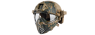 AC-689WD WOSPORT TACTICAL PILOTEER BUMP HELMET MASK W/ ADAPTER (WOODLAND DIGITAL)