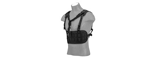 AC-882B LASER CUT AIRSOFT CHEST RIG W/ SLING (BLACK)
