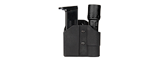 CA-1238B TACTICAL POLYMER PISTOL MAG AND FLASHLIGHT CARRIER (BLACK)