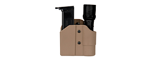 CA-1238T TACTICAL POLYMER PISTOL MAG AND FLASHLIGHT CARRIER (TAN)