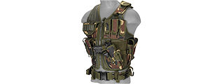 CA-310WN 1000D NYLON CROSS DRAW VEST W/ HOLSTER (WOODLAND)