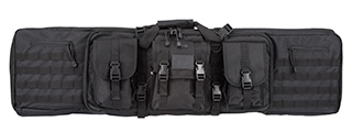 "LANCER TACTICAL 48"" DOUBLE GUN BAG 600D PVC MOLLE BELT RIFLE BAG (BLACK)"