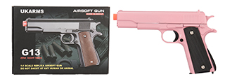G13P SPRING POWERED 1911 METAL AIRSOFT PISTOL (PINK)