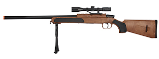 ZM51W MK51 SPRING BOLT ACTION AIRSOFT RIFLE W/ SCOPE (WOOD)