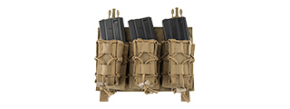 LANCER TACTICAL ADAPTIVE HOOK AND LOOP TRIPLE M4/PISTOL MAG POUCH (TAN)