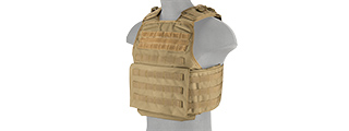 LANCER TACTICAL BATTLE 1000D NYLON MOLLE PLATE CARRIER (TAN)