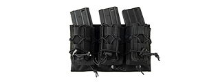 LANCER TACTICAL 1000D NYLON MOLLE 2-IN-1 TRIPLE M4/PISTOL MAG POUCH (BLACK)