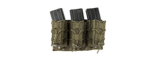 LANCER TACTICAL 1000D NYLON MOLLE 2-IN-1 TRIPLE M4/PISTOL MAG POUCH (OD GREEN)