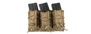 LANCER TACTICAL 1000D NYLON MOLLE 2-IN-1 TRIPLE M4/PISTOL MAG POUCH (TAN)