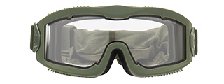 LANCER TACTICAL AERO PROTECTIVE OD GREEN AIRSOFT GOGGLES (CLEAR LENS)