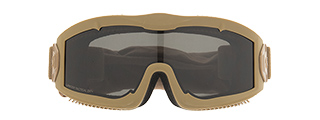 LANCER TACTICAL AERO PROTECTIVE TAN AIRSOFT GOGGLES (SMOKE/YELLOW/CLEAR LENS)