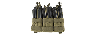 LANCER TACTICAL ADAPTIVE HOOK AND LOOP TRIPLE DUAL MAG POUCH (OD GREEN)