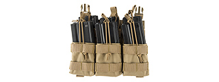 LANCER TACTICAL ADAPTIVE HOOK AND LOOP TRIPLE DUAL MAG POUCH (TAN)