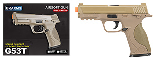 UK ARMS G53T 1:1 Replica Airsoft Spring Pistol (TAN)