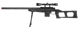 WellFire MK96 Covert Airsoft Sniper Rifle w/ Scope & Bipod (BLACK)