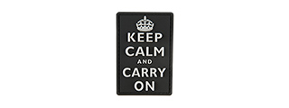 G-FORCE KEEP CALM AND CARRY ON PVC MORALE PATCH (BLACK)