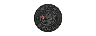 G-FORCE I LOVE GUNS AND BACON PVC MORALE PATCH (BLACK)