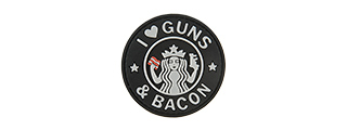 G-FORCE I LOVE GUNS AND BACON PVC MORALE PATCH (BLACK / WHITE)