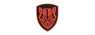 G-FORCE RED WOLF SHIELD PVC MORALE PATCH (BLACK / RED)