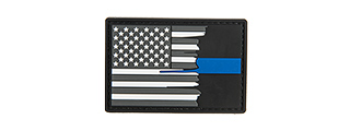 G-FORCE SUBDUED TATTERED US FLAG THIN BLUE LINE PVC MORALE PATCH