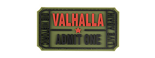 G-FORCE VALHALLA ADMIT ONE PVC MORALE PATCH (OD GREEN)