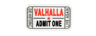 G-FORCE VALHALLA ADMIT ONE PVC MORALE PATCH (WHITE)